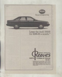 1985 Audi 5000S Newspaper Ad